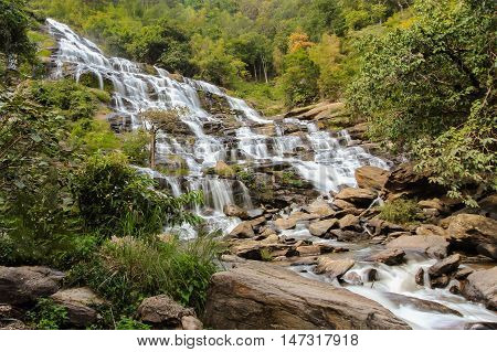 Natural cascade waterfall in tropical forest, Thailand