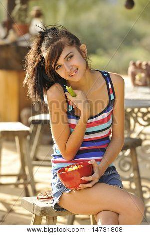 Beautiful Teen Snacking