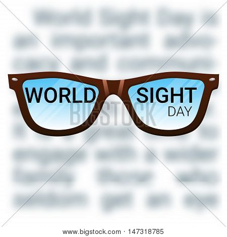World Sight Day background. Vector illustration with glasses. Fighting blindness cataract glaucoma vision impairment. Eye health concept.