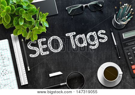 Black Chalkboard with SEO Tags Concept. 3d Rendering. Toned Image.