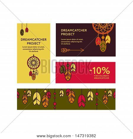 Business cards and promotional flyers with a picture of  dreamcatcher. Seamless border decorated feathers and beads. Line style. Boho elements. Vector template