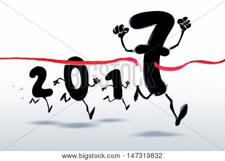 2017 New Year characters crossing the finish line
