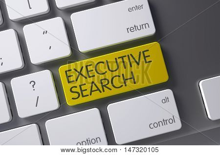 Executive Search Concept: Modern Laptop Keyboard with Executive Search, Selected Focus on Yellow Enter Button. 3D.