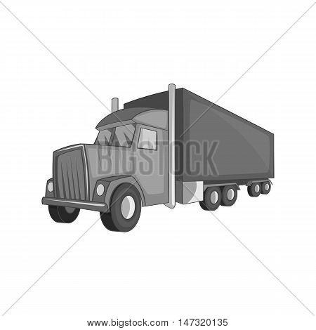Semi trailer truck icon in black monochrome style on a white background vector illustration