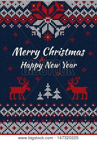 Knitted Greeting Card Or Invitation To  X-mas Party. Merry Christmas & Happy New Year.  Handmade Kni