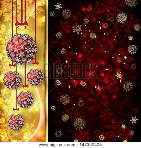 Xmas card with christmas balls on golden and red background.