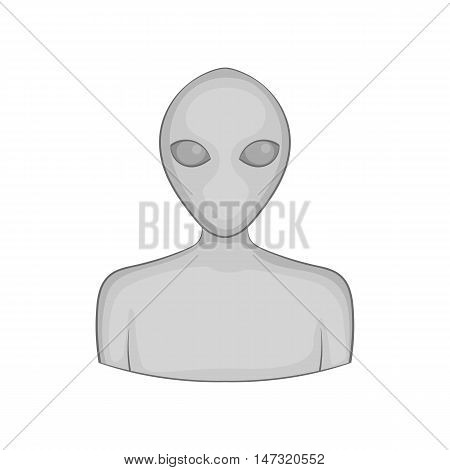 Alien icon in black monochrome style on a white background vector illustration