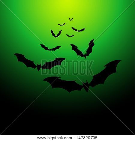 Flock of bats on a green background. Illustration for your design for Halloween. Vector EPS10.