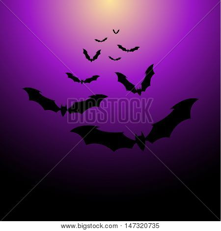 Flock of bats on a purpul background. Illustration for your design for Halloween. Vector EPS10.
