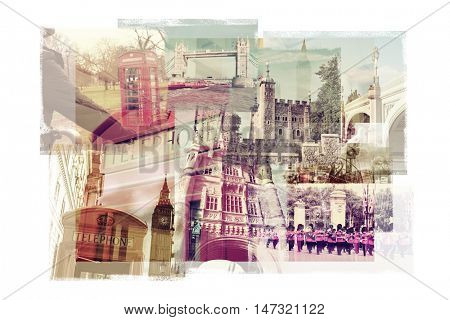 multiple exposures of different landmarks in London, United Kingdom, such as  the Big Ben, the Tower Bridge, the Tower of London or the typical red phone booths