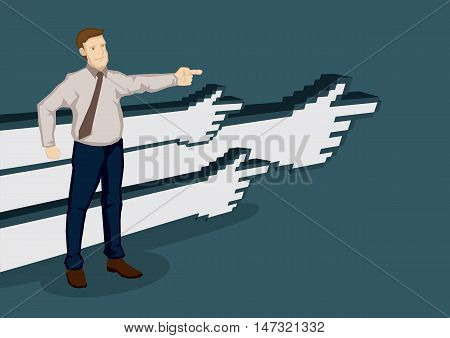 Businessman pointing in one direction with digital hands in the background pointing in the same direction. Creative vector illustration on business direction concept isolated on green background.