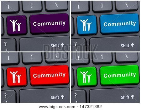 Community Word On Colored Keyboard Buttons