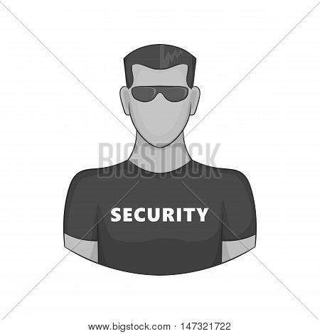 Security guard icon in black monochrome style on a white background vector illustration