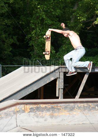 Skateboarder Air Walking