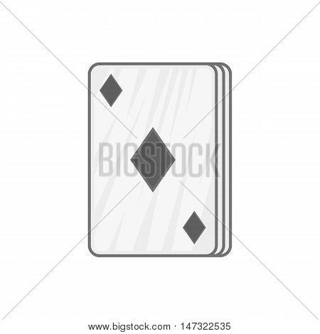 Ace of diamonds icon in black monochrome style on a white background vector illustration