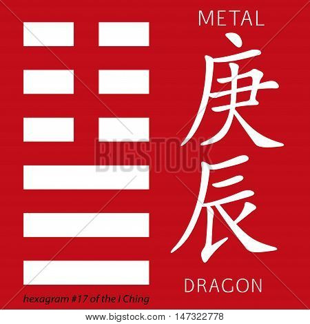 Symbol of i ching hexagram from chinese hieroglyphs. Translation of 12 zodiac feng shui signs hieroglyphs- metal and dragon.