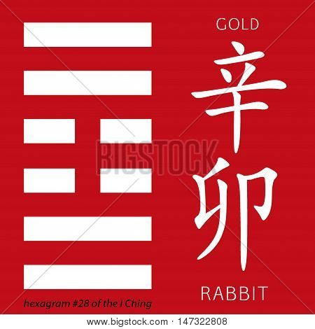 Symbol of i ching hexagram from chinese hieroglyphs. Translation of 12 zodiac feng shui signs hieroglyphs- gold and rabbit.