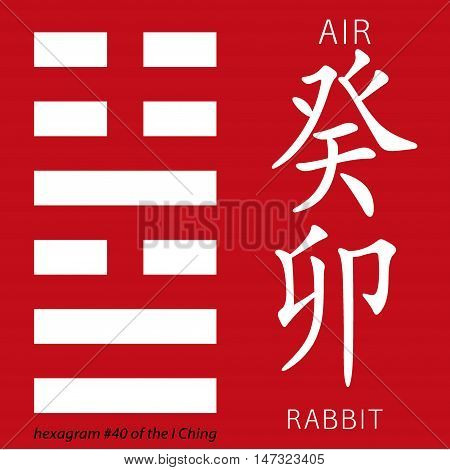 Symbol of i ching hexagram from chinese hieroglyphs. Translation of 12 zodiac feng shui signs hieroglyphs- air and rabbit.