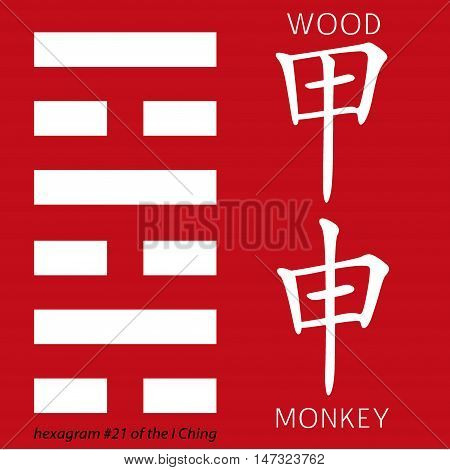 Symbol of i ching hexagram from chinese hieroglyphs. Translation of 12 zodiac feng shui signs hieroglyphs- wood and rmonkey.