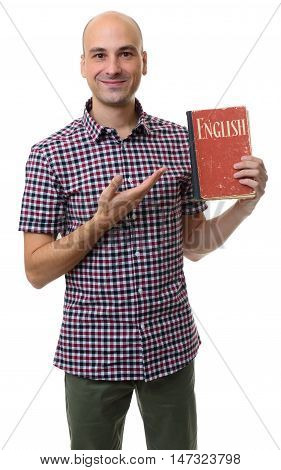 Learning English. Smiling Man Holds A Textbook