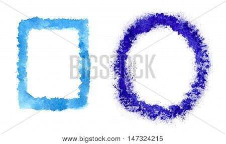 Oval or rectangular frames painted blue watercolor