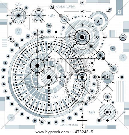 Mechanical scheme vector engineering drawing with geometric parts of mechanism.