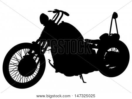 Old motor bike on white background