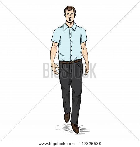 Vector Sketch Men Model In Blue Short Sleeve Shirt. Business Dress Code.