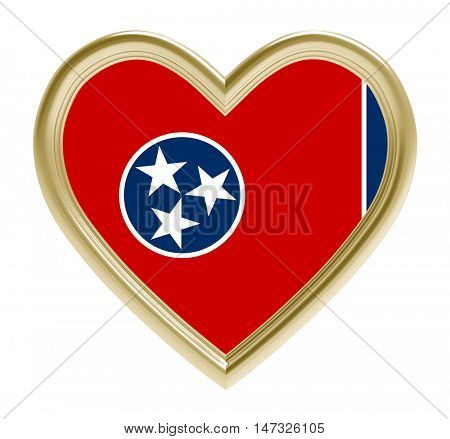 Tennessee flag in golden heart isolated on white background. 3D illustration.
