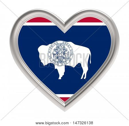 Wyoming flag in silver heart isolated on white background. 3D illustration.