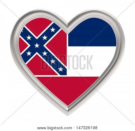 Mississippi flag in silver heart isolated on white background. 3D illustration.