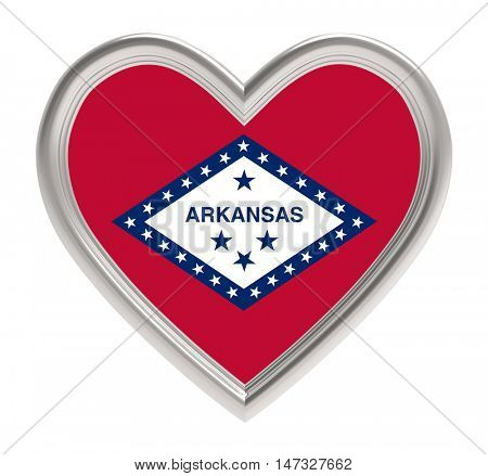 Arkansas flag in silver heart isolated on white background. 3D illustration.