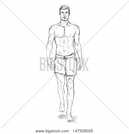 Vector Single Sketch Illustration -  Fashion Male Model In Shorts