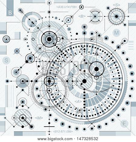 Vector industrial and engineering background future technical plan. Perspective blueprint of mechanism mechanical scheme.