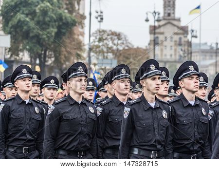 KYIV, UKRAINE - AUGUST 24, 2016: Soldiers of the National Police of Ukraine during military parade in Kyiv, dedicated to the Independence Day of Ukraine
