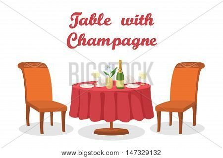 Cartoon Festive Holiday Table with Bottle of Champagne Wine, Flower, Napkins, Glasses, Plates, Two Chairs, Isolated on White Background. Eps10, Contains Transparencies. Vector