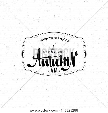 Autumn camp - Badge drawn by hand, using the skills of calligraphy and lettering, collected in accordance with the rules of typography logo