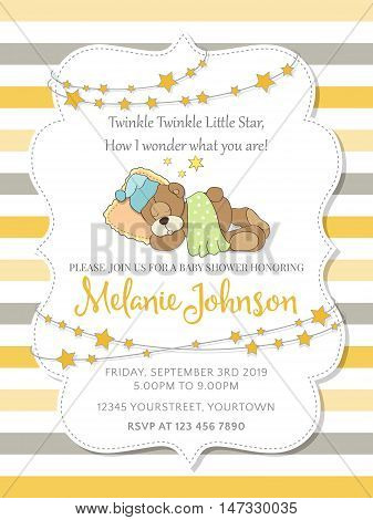 Lovely Baby Shower Card With Teddy Bear
