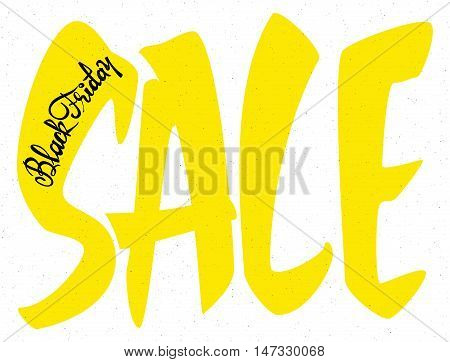 Sale black friday Badge drawn by hand, using the skills of calligraphy and lettering, collected in accordance with the rules of typography logo
