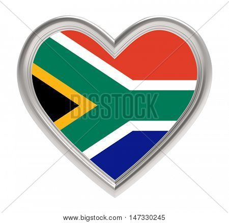 South Africa flag in silver heart isolated on white background. 3D illustration.