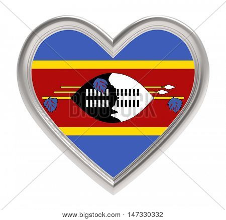 Swaziland flag in silver heart isolated on white background. 3D illustration.