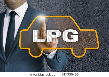 LPG auto touchscreen is operated by businessman concept.