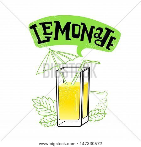 fresh limon juice, slice with leaves. vector illustration isolated