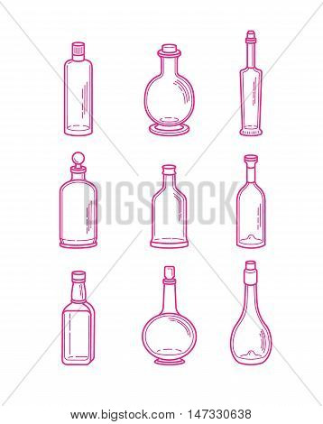 Alcohol bottles icons - vodka champagne wine whiskey beer brandy tequila cognac liquor martini vermouth gin rum absinthe sambuca cider port.