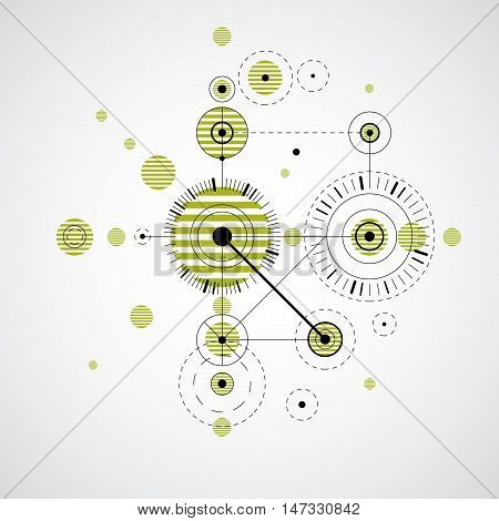 Modular Bauhaus vector green background created from simple geometric figures like circles and lines. Best for use as advertising poster or banner design. Abstract mechanical scheme.