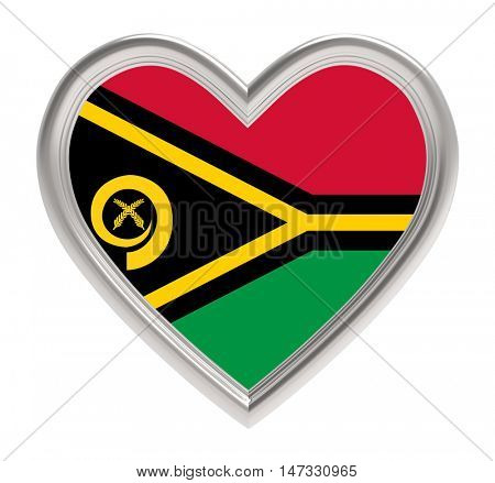 Vanuatu flag in silver heart isolated on white background. 3D illustration.