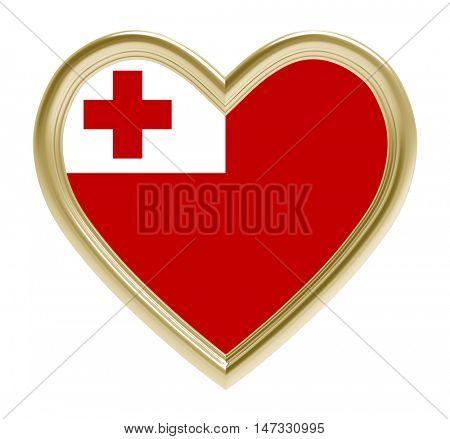 Tonga flag in golden heart isolated on white background. 3D illustration.