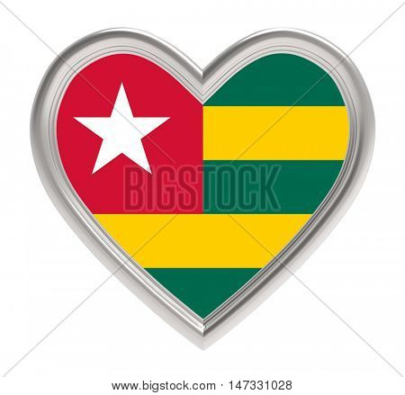 Togo flag in silver heart isolated on white background. 3D illustration.
