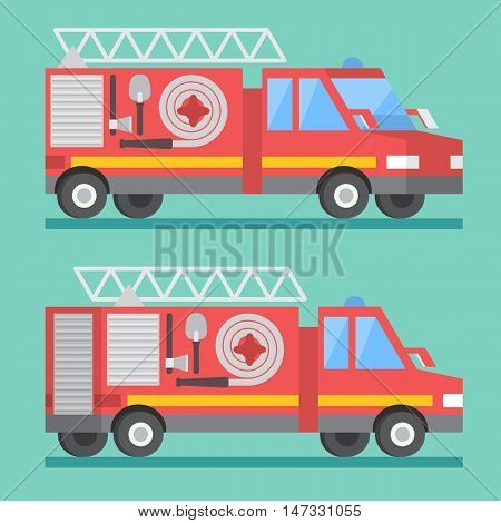 Fire rescue truck. Firefighter department. Vector transport car
