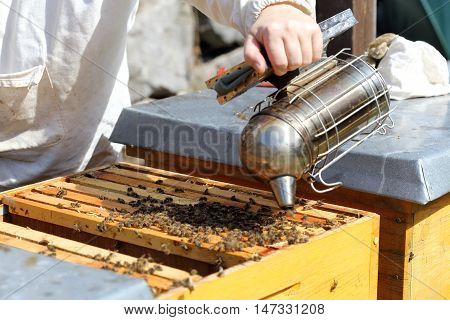 beekeeper is working with pipe on a bee hive